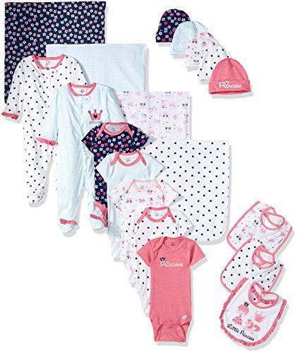 Gerber Baby Girls' 19-Piece Essentials Gift Set, Pink Princess