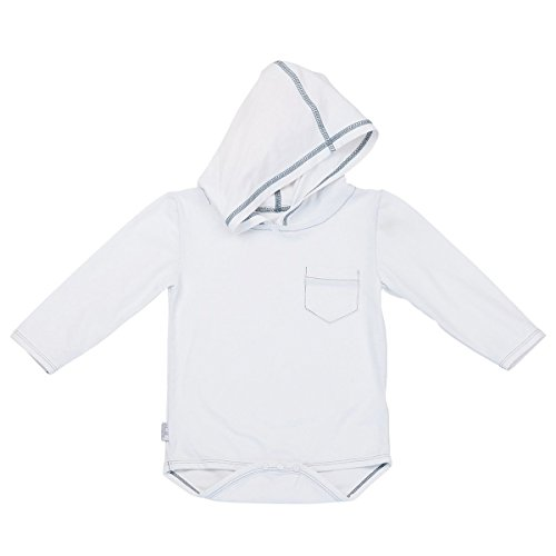 UV SKINZ UPF 50+ Baby Boy Hooded Sunzie- White - 3/6m