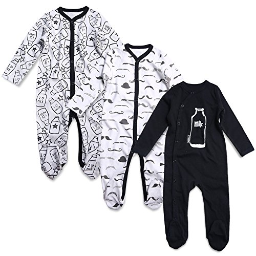 OPAWO Baby Boys' Footed Sleeper Pajamas 3 Pack Long Sleeve