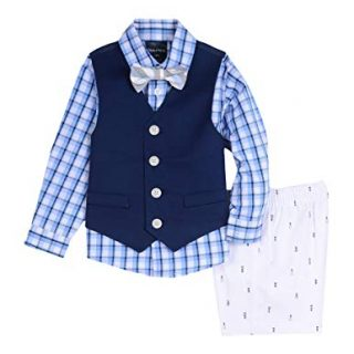 Nautica Baby Boys 4-Piece Formal Dresswear Vest Set with Bow Tie