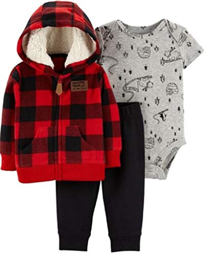 Carter's Baby Boys` 3-Piece Little Jacket Set, Red Plaid, 12 Months
