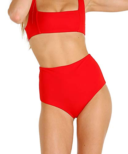 Mara Hoffman Meli Square Neckline Tank Bikini Top Swimsuit, RED