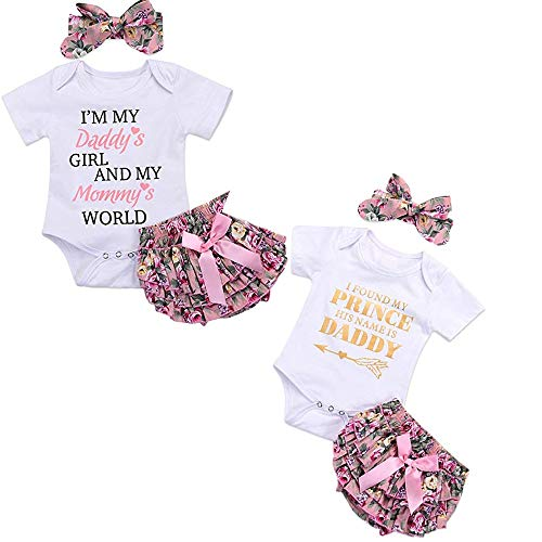 voqoomkl 3PCS Newborn Baby Girl Romper Jumpsuit Bodysuit