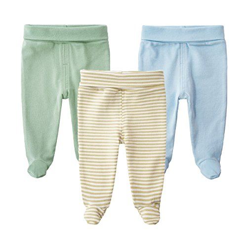 SYCLZ Baby 3-Pack 100% Cotton High Waist Footed Pants