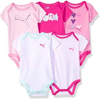 PUMA Baby Girls Five Pack Bodysuit Set, Pink Glow 3-6M