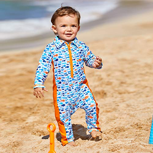 UV SKINZ UPF50 Baby Boy Sun /& Swim Play Suit-Orange Happy Fish