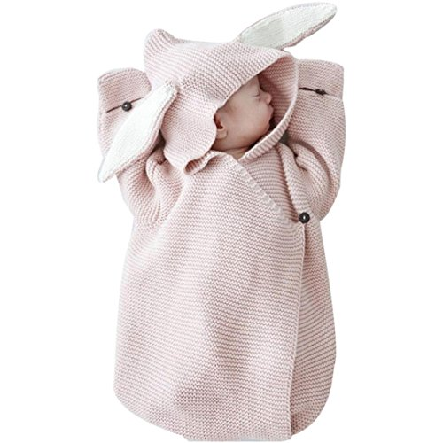 Newborn Receiving Blanket Baby Bunny Ear Knitted Swaddle Blanket