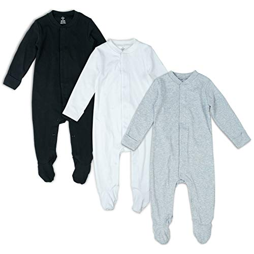OPAWO Solid Color Unisex Baby Footed Sleeper Pajamas