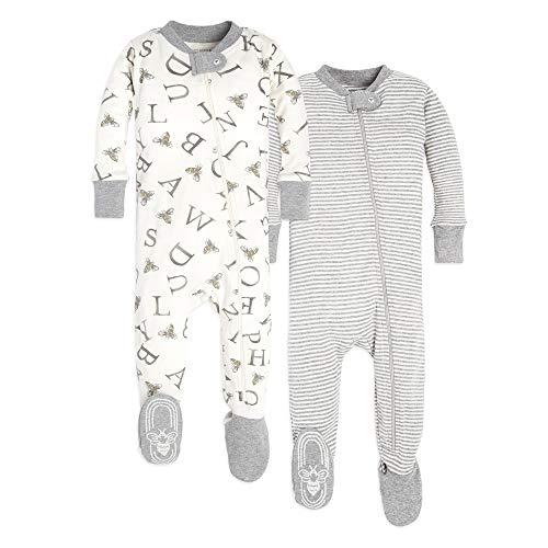 Burt's Bees Baby Unisex Pajamas, A-Bee-C/Stripes 2-Pack