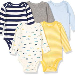 Moon and Back Baby Set of 5 Organic Long-Sleeve Bodysuits