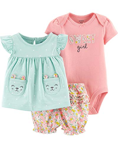 Carter's Baby Girls' 3-Piece Bodysuit & Diaper Cover Sets