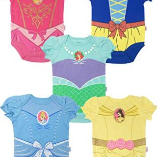 Disney Princess Baby Girls' 5 Pack Bodysuits Belle Cinderella