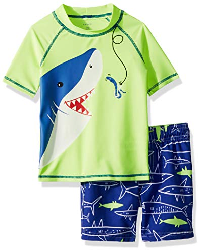Carter's Boys' Rashguard Set, Yellow Shark, 9 Months