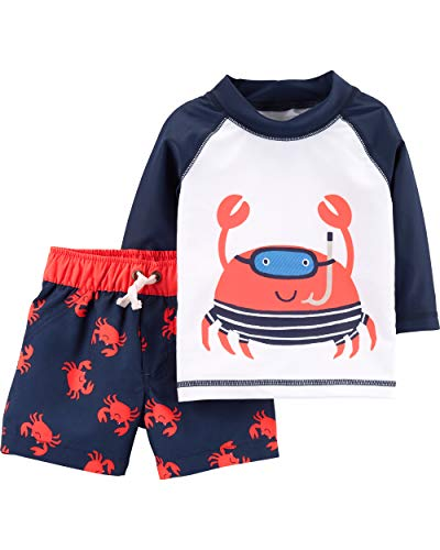 Carter's Baby Boys Rashguard Swim Set, Crab, 12 Months