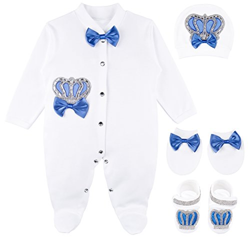 Lilax Baby Boy Jewels Crown Layette 4 Piece Gift Set
