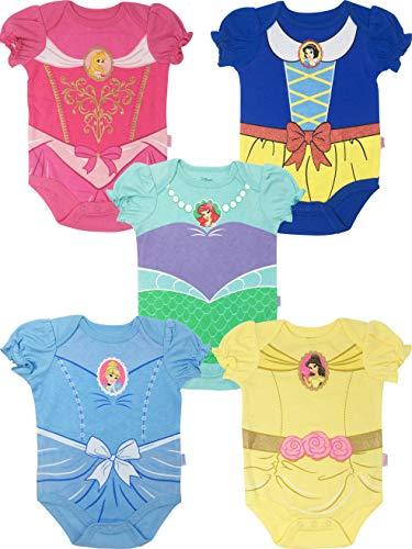 Disney Princess Baby Girls' 5 Pack Bodysuits