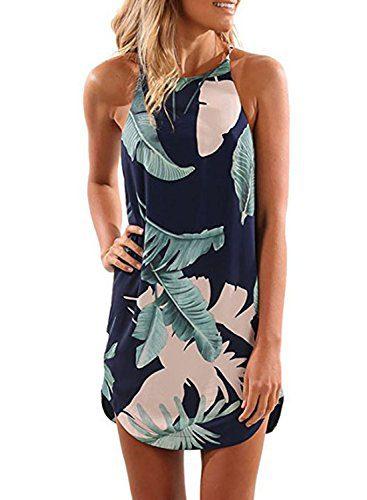 Asvivid Women's Halter Neck Sleeveless Chiffon Tropical Palm Print