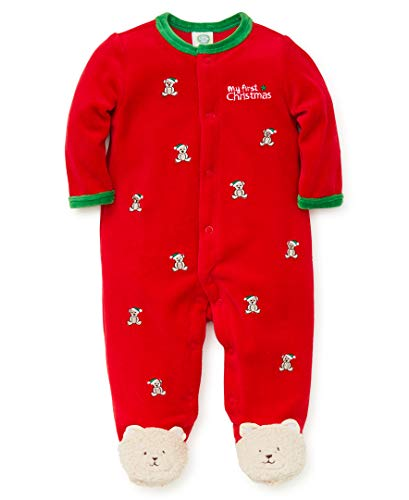 Little Me Baby Boys Velour Footie, Bear Christmas