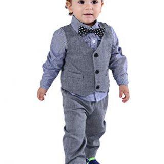Abolai Baby Boys' 4 Piece Vest Set with Shirt