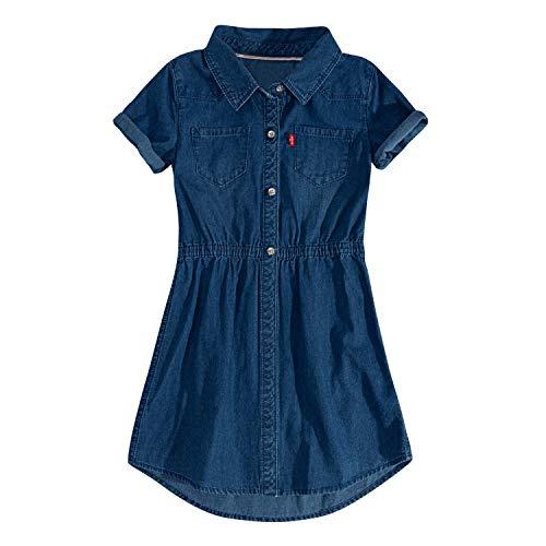 Levi's Girls' Big Short Sleeve Western Dress, Cobalt Blue L