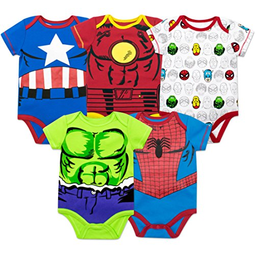 Marvel Baby Boys' 5 Pack Onesies - The Hulk, Spiderman