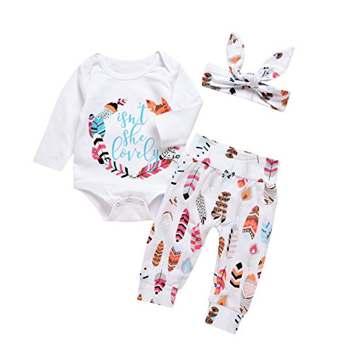 3Pcs Baby Boy Girls Print Long Sleeve Letters Romper+Leaves Pant