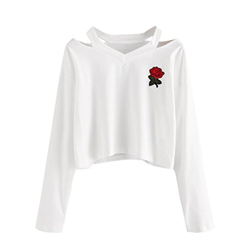 Palarn Womens Fashion Tops, Long Sleeve Rose Print Cross