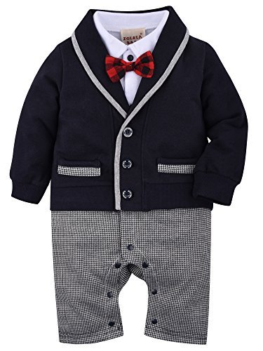 ZOEREA Baby Boys Romper Suits Bow Tie Baptism Wedding Tuxedo