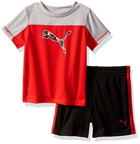 PUMA Baby Boys' 2 Piece Tee & Short Set, Flame Scarlet