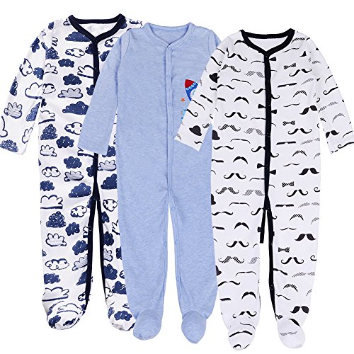 Exemaba Baby Footed Pajamas Boy-3 Packs Newborn Infant Sleeper