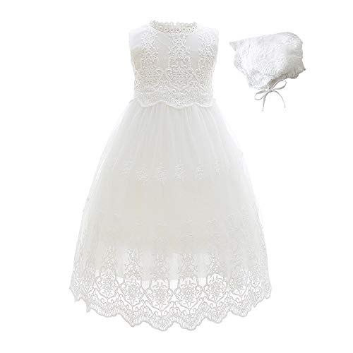 Slowera Baby Girls White Lace Dress Christening Baptism
