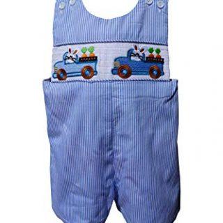 Dana Kids Boys Easter Bunny Truck Smocked Shortall (12M)