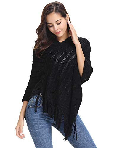 Abollria Women's Cozy Knitted Pullover Sweater Wrap Poncho Top