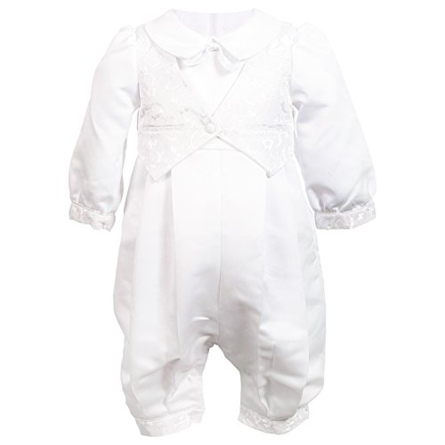 NIMBLE Baby Boys Newborn Christening Baptism Infant Satin Romper