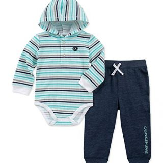 Calvin Klein Baby Boys 2 Pieces Bodysuit Pant Set