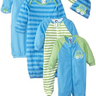 Gerber Baby Boys 6 Piece Gown, Cap (0-6M), and Sleep'n Play