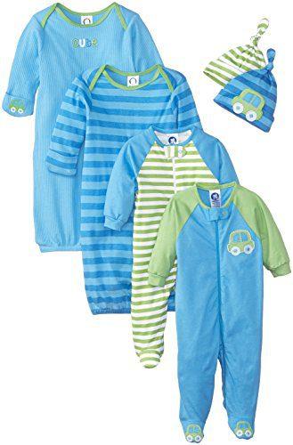 Gerber Baby Boys 6 Piece Gown, Cap (0-6M), and Sleep'n Play