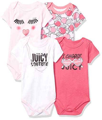 Juicy Couture Baby Girls 4 Pieces Pack Bodysuits