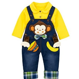 Chumhey Baby & Toddler Boys Jean Overalls Pants Set