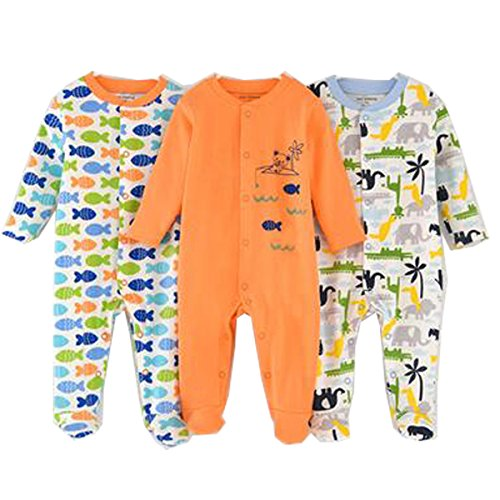 Infant Baby Girls Boys Footed Sleepsuit 100% Cotton Floral Sleepers