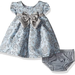 Bonnie Baby Baby Girls Short Sleeve Jacquard Party Dress
