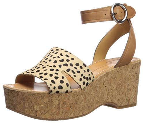 Dolce Vita Women's Linda Wedge Sandal, Leopard Calf Hair