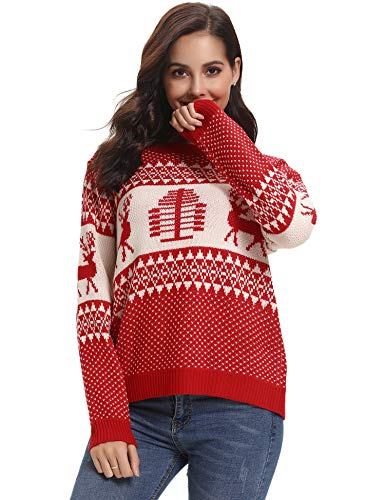Abollria Christmas Sweater Women's Reindeer Knitted Sweater Pullover