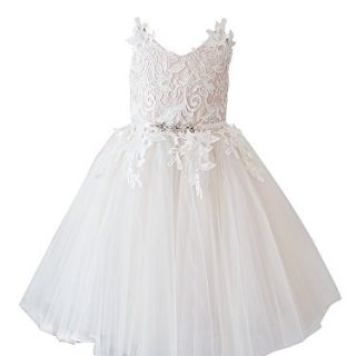 Miama Ivory Lace Tulle Straps Wedding Flower Girl Dress