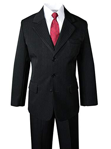 Spring Notion Big Boys' Pinstripe Suit Set Black-Red Tie