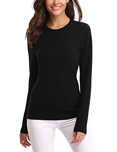 Abollria Women's Long Sleeve Soft Round Neck Slim Fit