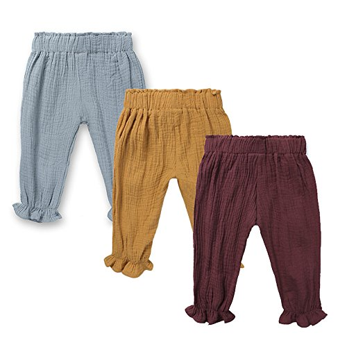Mary ye Baby Boys Girls 3 Pack Cotton Linen Trousers Unisex