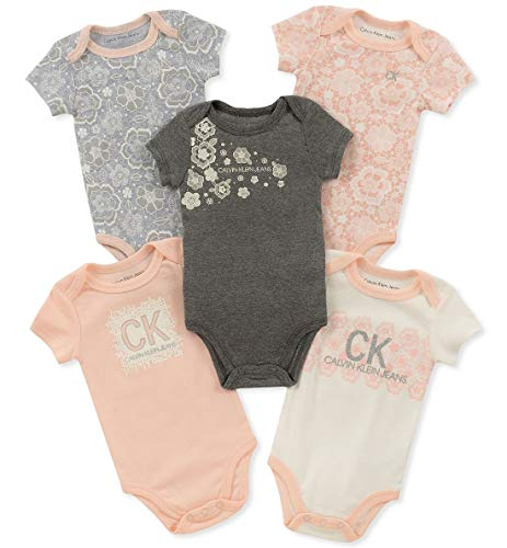 Calvin Klein Baby Girls 5 Pieces Pack Bodysuits