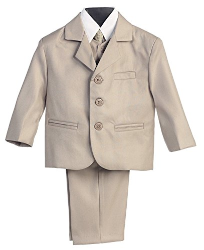 Boy's Lito Khaki Dress Suit with Shirt, Vest & Tie