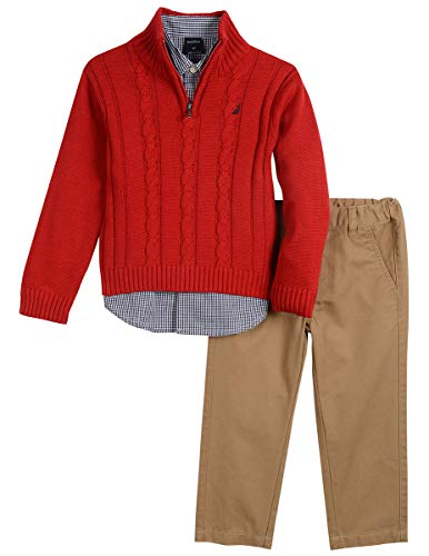 Nautica Boys' Three Piece Sweater Set, Bright red Cherry, 24M